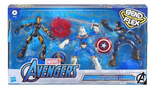 Imagem 1 de 2 de Kit Marvel Avengers Bend And Flex Iron Man E Captão Vs Task