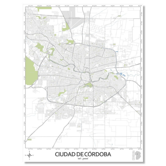 Mapa Ciudad De Córdoba 80cmx61cm