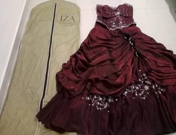 Vestido De Xv Años Color Vino Talla:g