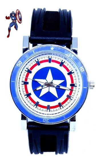 Relógio Capitão América Escudo Analógico 42mm Top Original