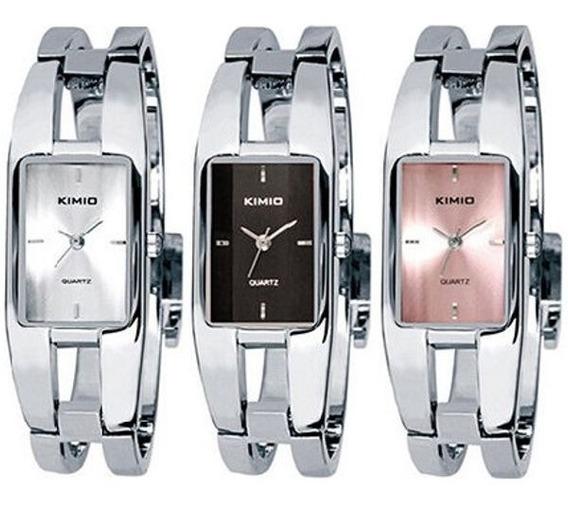 Relógio Bracelete Feminino Quadrado Kimio 1601 Prata Branco