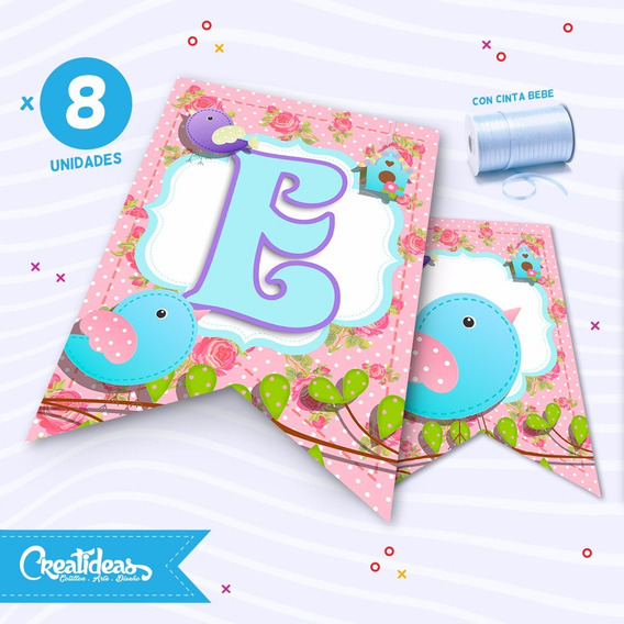 Pajaritos Shabby Chic Banderines Personalizados Pack X8