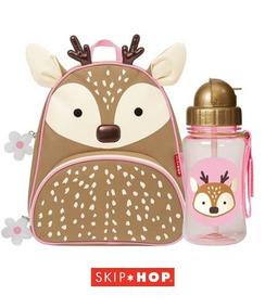 Kit Mochila + Garrafinha Squeeze Zoo Rena Skip Hop