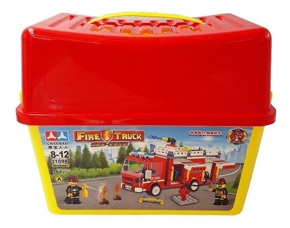 Brinquedo Educativo City Bombeiros Blocos De Montar 394 Pçs