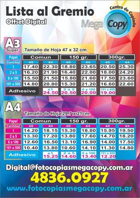 Fotocopias A3 Precio Al Gremio - Increibles Precios !!!