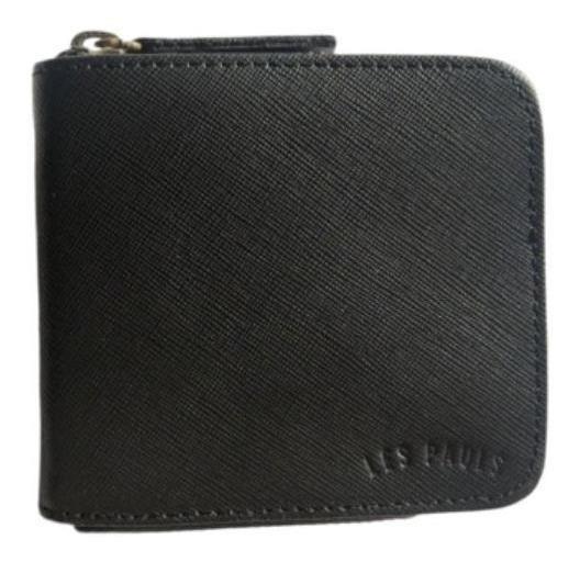 Billetera Les Pauls con cierre negra saffiano cuero