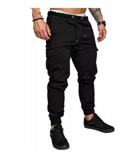 Pack X2 Pantalones Hombre Cargo Gabardina Bolsillos Casuales