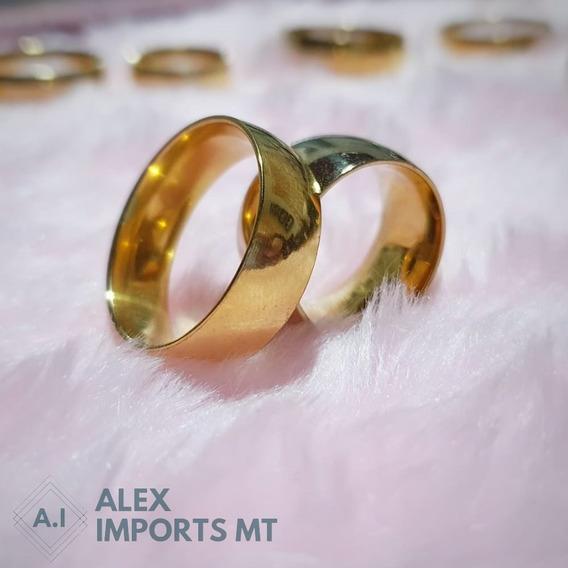 Alianças Reta Banhada Ouro 18k 8mm Tungstênio Casamento