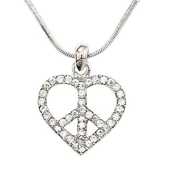 Corazón Con Cristales De Plata Esterlina Y Cadena De 22 Cm
