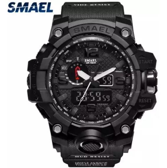 Relogio Masculino Militar Smael 1545 Dual Time Caixa 55mm Alarme,cronometro,led Calendario Prova D