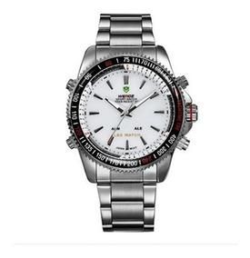Relógio Masculino Weide Prata E Branco - Brinde Chaveiro