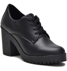 Sapato Feminino Oxford Salto Tratorado Preto Verniz Envio Ja