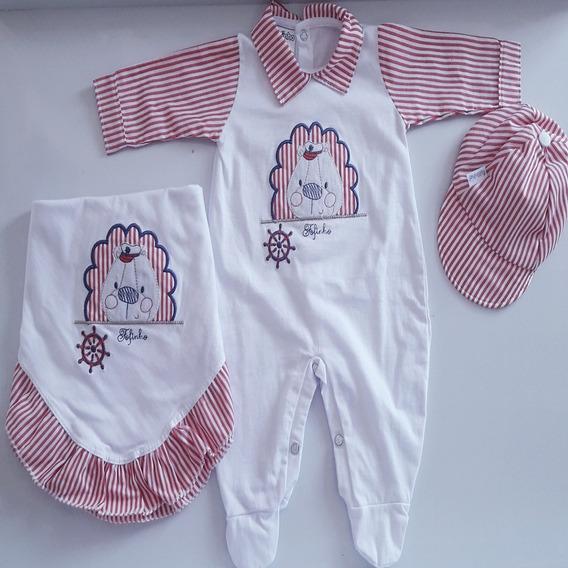 Saída De Maternidade Malha Menino 3 Peças Fofinho