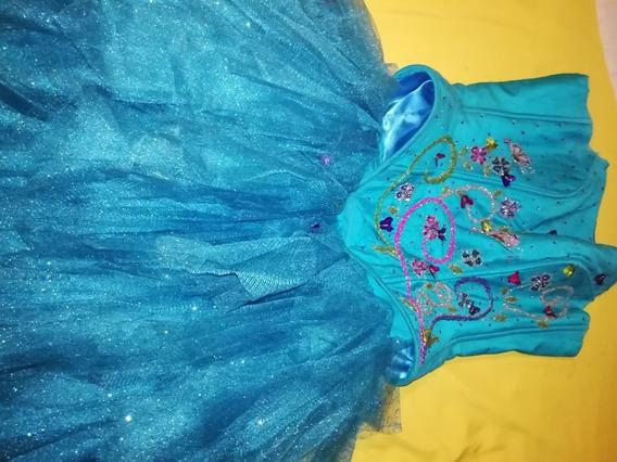 Vestido Xv Corto Azul Bordado A Mano