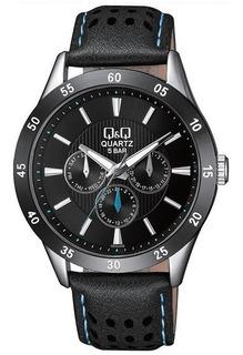 Reloj Q&q Hombre Casual Elegante Cuero Deportivo Metal Q Q