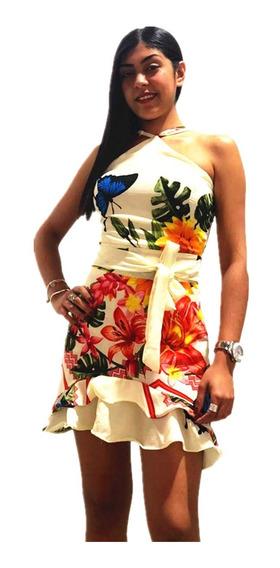 Vestido Curto Com Bojo Floral Com Babado Novo Com Alça