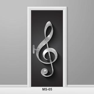 Adesivo Para Porta Música Clave De Sol Notas Musicais Ms-05