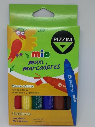 Imagen 1 de 1 de Marcador Pizzini Maxi X 6 Colores