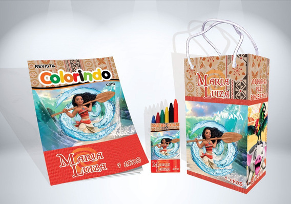 50 Kit De Colorir Moana Revista Sacola Giz Lembrança