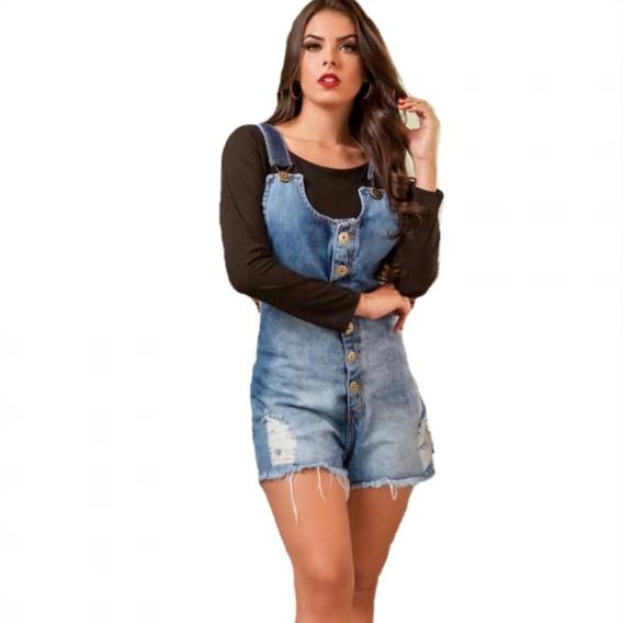 Jardineira Salopete Short Jeans Feminina Com Botões 008