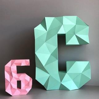 Alfabeto E Números- Papercraft Low Poly - Arquivo Imprimível