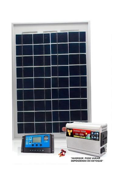 Kit Placa Painel Solar 20w Inversor Controlador 12v 220 500w