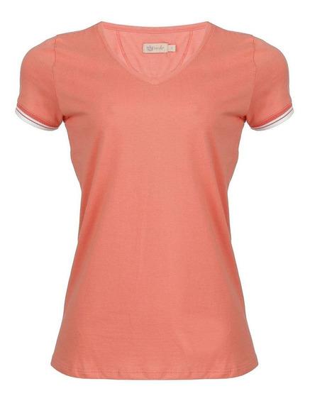 Camiseta Seeder Feminina Gola V Salmão