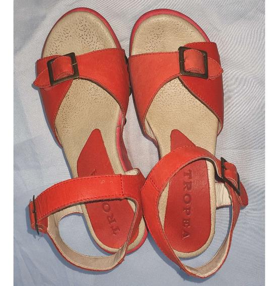 Sandalias De Cuero Color Ladrillo Nº 38 Tropea