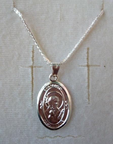 Medalla San Benito Con Cadena 100% Plata 9.25 Envio Gratis