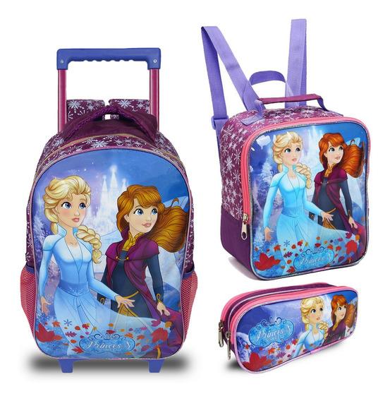 Kit Mochila Escolar Infantil Princesas Do Gelo Seanite