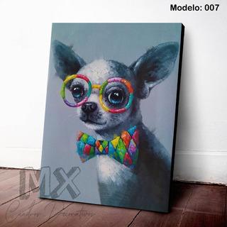 Cuadro Decorativo Perrito Chihuahua Lentes X007