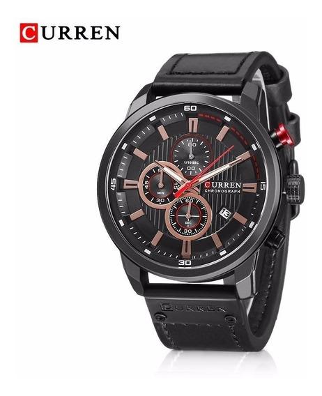 Relógio Masculino Curren 8291 Pulseira Couro 100% Funcional