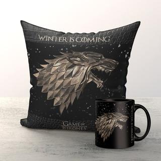 Kit Almofada E Caneca 325ml Game Of Thrones Stark
