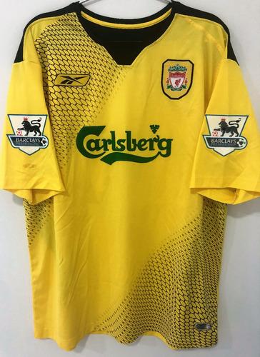 Camisa Liverpool 2004/05 Baros #5 Premier League Uniforme 2