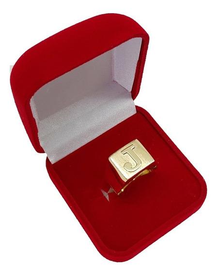 Anel Masculino De Letra Em Ouro 18kl 8 Gramas