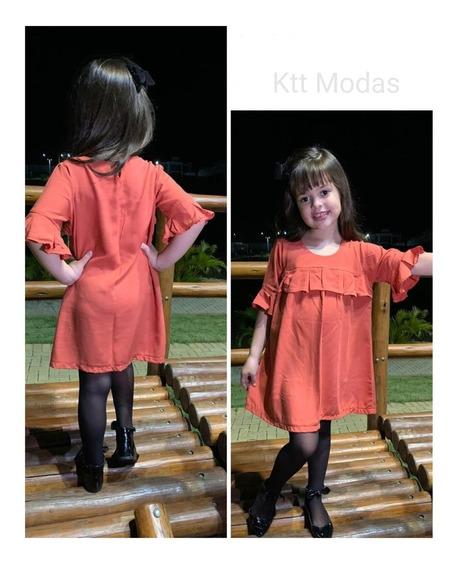 Vestido Bata Soltinho Babado Manga 3/4 Moda Infantil Outono