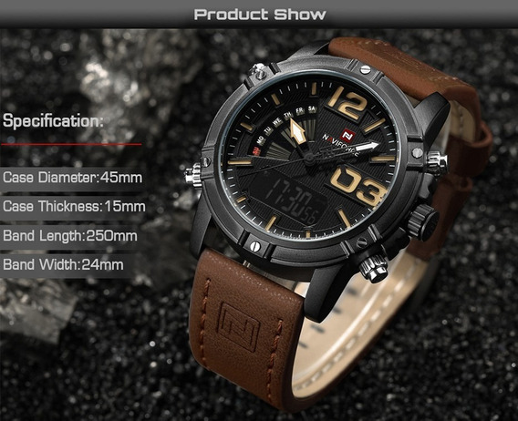 Relógio Militar Masculino Naviforce 9095 Original Na Caixa.