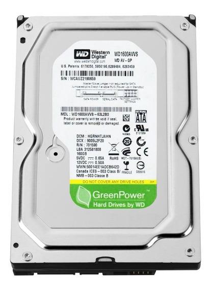 Hd Pc Dvr Sata 3 Western Digital Green Power 160gb/s - Novo