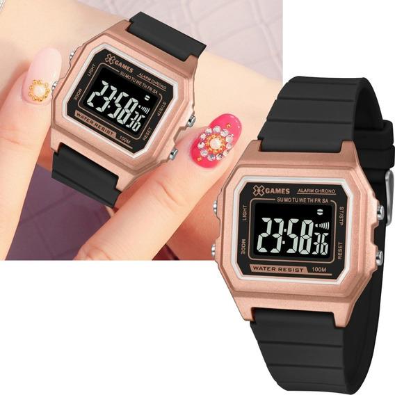 Relógio X Games Feminino Digital Quadrado Xlppd031 Rosê C/ Preto