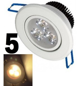 Kit 5 Spot Led Branco Luz Quente Direcionável 3w Sanca Gesso