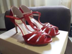 Sandalia Salto 10, Vermelha Jorge B. Confortavel E Elegante