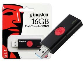 Pendrive Kingston 16gb Dt106 - Preto E Vermelho
