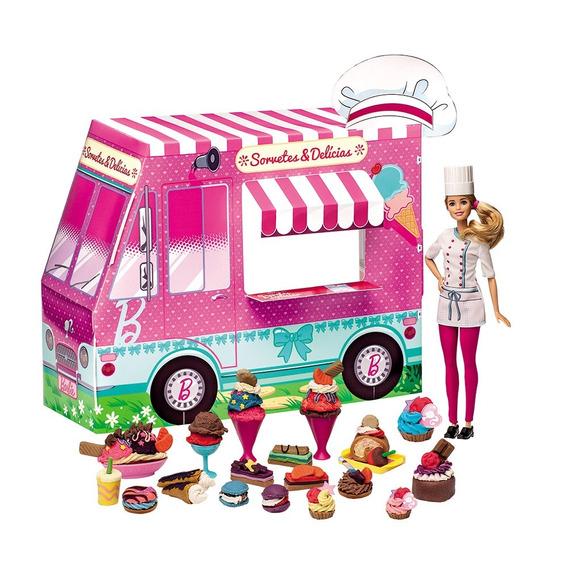 Barbie Massinha Food Truck Sorvetes E Delícias - Fun