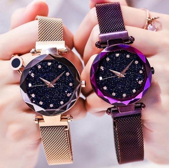 Kit 10 Relógio Feminino Céu Estrelado Luxo Brilhante Atacado
