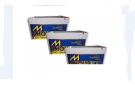 Kit 3 Bateria Moura Vrla Selada 12v 7ah Alarme / Nobreak