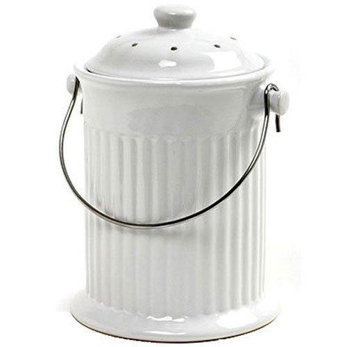 Norpro 1 Galón De Cerámica Compost Guardián, Blanca