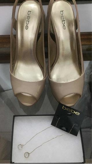 Zapatos Plataforma Importados Marca Be Be T 7.5 Us + Aritos