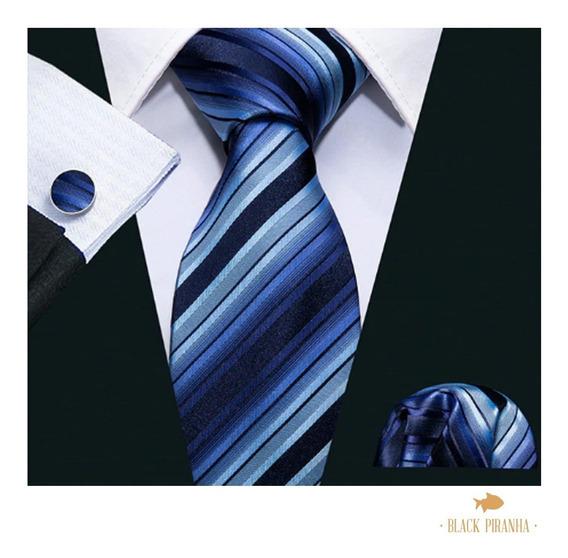 Corbata Pañuelo Y Mancuernillas Azul Marino Con Rayas