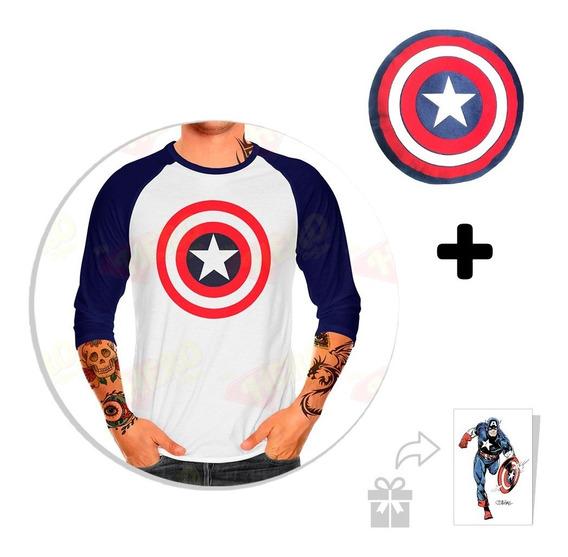 Kit Playera Raglan Caballero Capitán América + Peluche + Sti