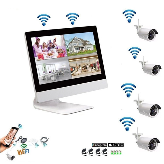 Cftv/ Kit Com 04 Câmeras Wireless